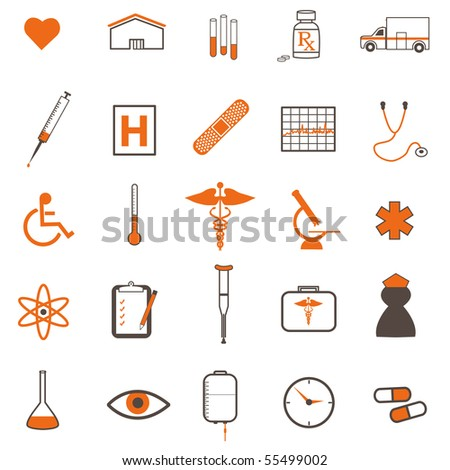 Image of various medical icons on a white background.