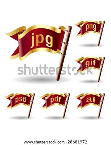 Image or graphic file extension icons on royal vector flag design elements for web or print - stock vector