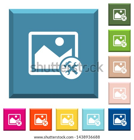 Image tools white icons on edged square buttons in various trendy colors