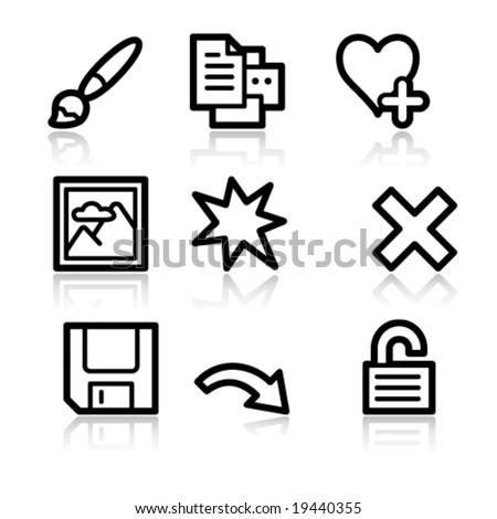 Image viewer black contour web icons V2 set 2