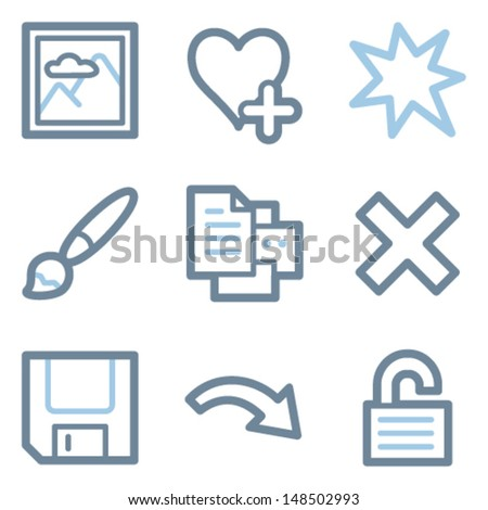 Image viewer icons, blue line contour series