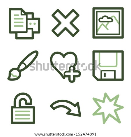 Image viewer icons set 2, green line contour series