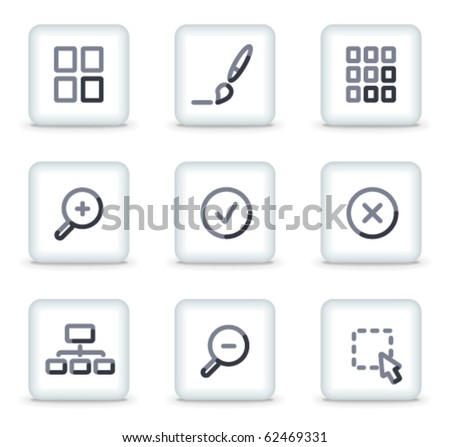 Image viewer icons, white square glossy buttons