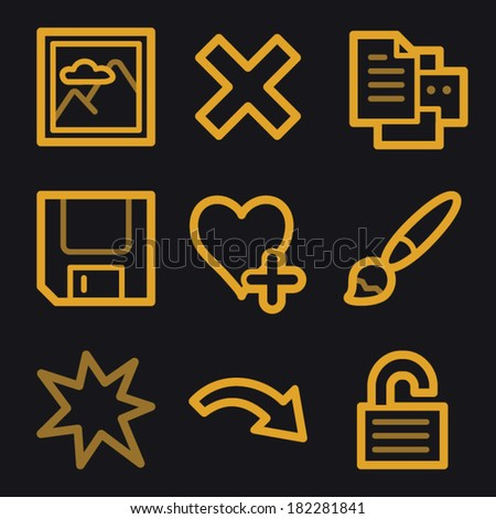 Image viewer web icons, gold line set
