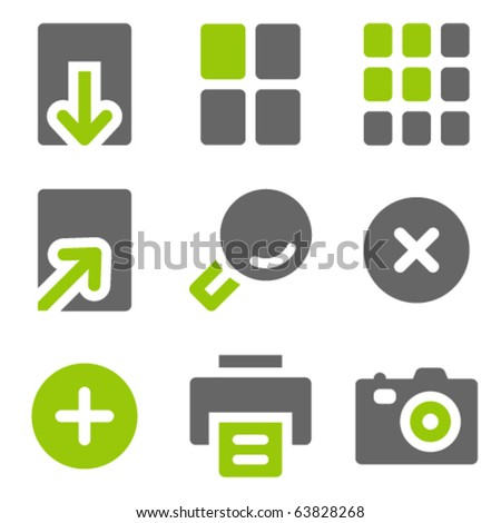 Image viewer web icons, green grey solid icons