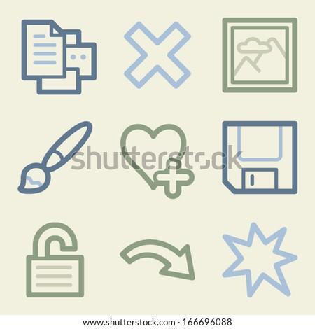 Image viewer web icons, money color set
