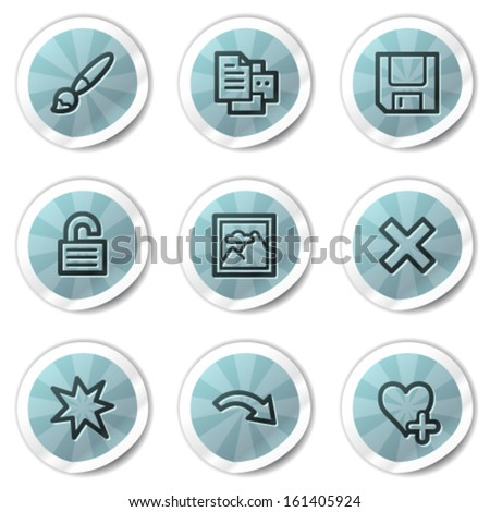 Image viewer web icons set 2, blue shine stickers series