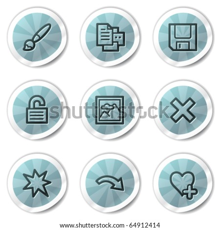 Image viewer web icons set 2, blue shine stickers series
