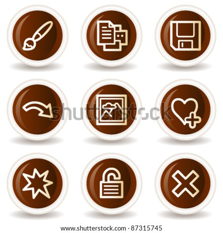 Image viewer web icons set 2, chocolate buttons