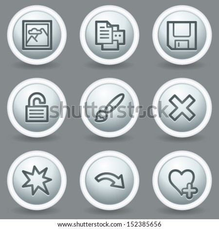 Image viewer web icons set 2, circle grey matt buttons