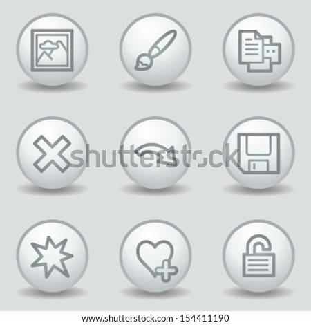 Image viewer web icons set 2, circle white matt buttons