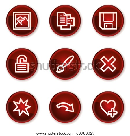Image viewer web icons set 2, dark red circle buttons