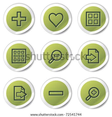 Image viewer web icons set 1, green circle stickers