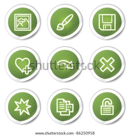 Image viewer web icons set 2, green  stickers
