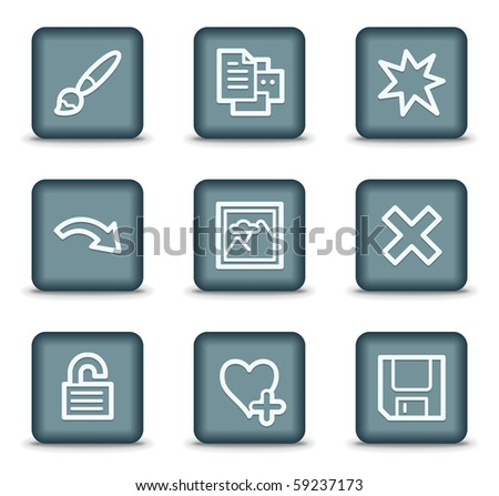 Image viewer web icons set 2, grey square buttons
