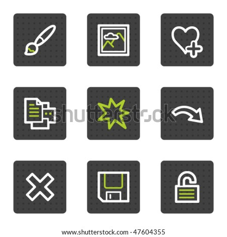 Image viewer web icons set 1, grey square buttons series