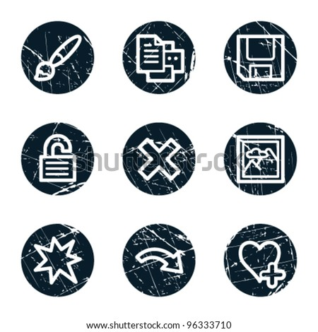 Image viewer web icons set 2, grunge circle buttons