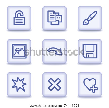 Image viewer web icons set 2, light violet glossy buttons