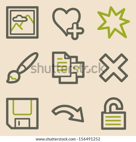 Image viewer web icons set 2, vintage series