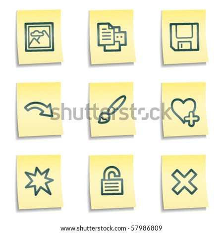 Image viewer web icons set 1, yellow notes series
