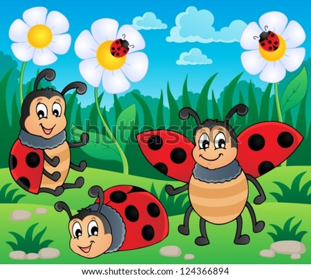 Image with ladybug theme 2 - vector illustration. #124366894