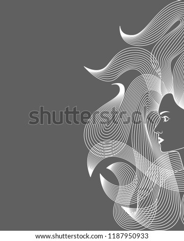 Image women with long hair style icon. Isolated symbol of women with flowing hair on gray background. Graphic sign. Logo. Vector illustration