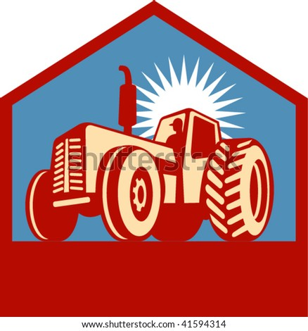 Imagery shows a retro styled tractor silhouette viewed form a low angle enclosed in a chevron. Done in three (3) colors.
