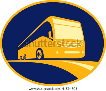 Imagery shows an icon for a tourist coach bus traveling on road viewed from a low angle. Done in three (3) colors and enclosed in an ellipse.