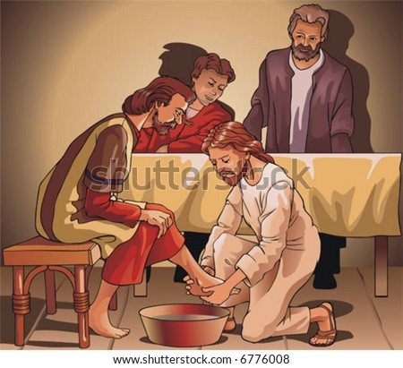 Images on religious subjects. Jesus washes legs to the pupil