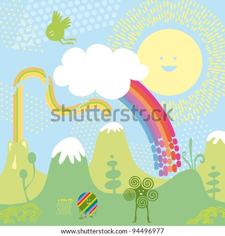 Imaginary landscape with happy characters and elements