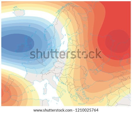 imaginary meteorological weather image of the europe weather map.