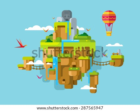 imaginary soaring island on a