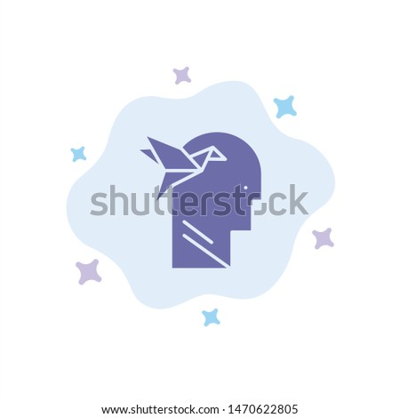 Imagination Form, Imagination, Head, brain Blue Icon on Abstract Cloud Background. Vector Icon Template background