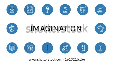 imagination icon set. Collection of Brain, Sketchbook, Lamp, Idea, Creative, Creativity, Creative design, Knowledge icons