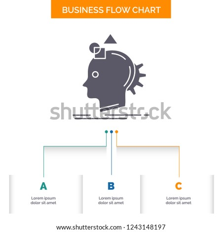 Imagination, imaginative, imagine, idea, process Business Flow Chart Design with 3 Steps. Glyph Icon For Presentation Background Template Place for text.