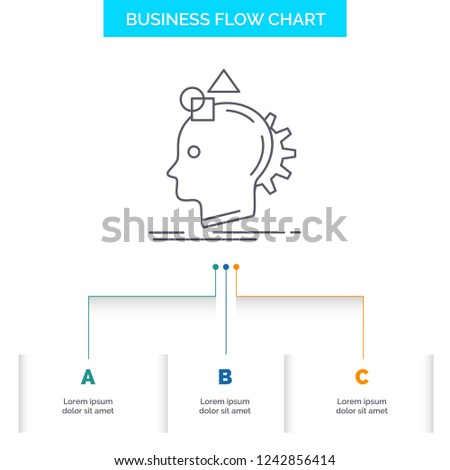 Imagination, imaginative, imagine, idea, process Business Flow Chart Design with 3 Steps. Line Icon For Presentation Background Template Place for text