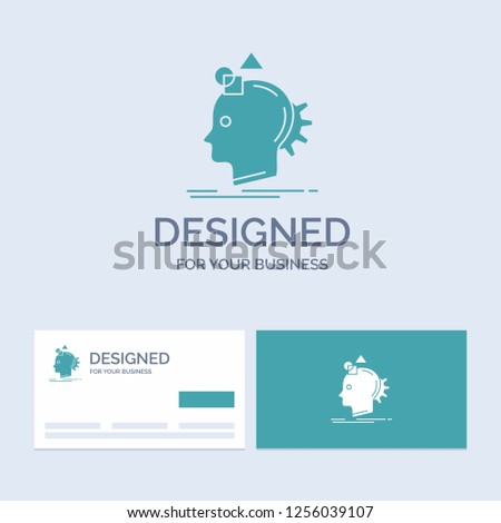Imagination, imaginative, imagine, idea, process Business Logo Glyph Icon Symbol for your business. Turquoise Business Cards with Brand logo template.