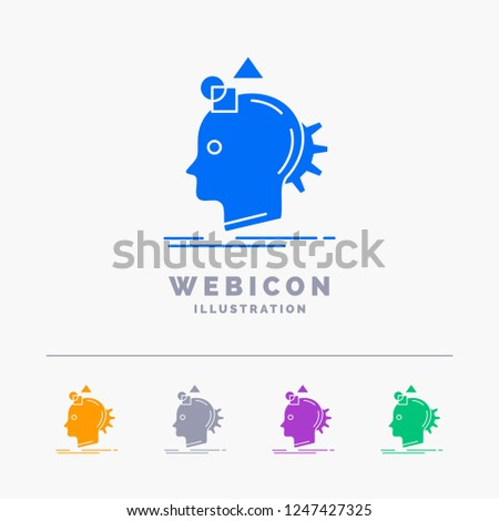 Imagination, imaginative, imagine, idea, process 5 Color Glyph Web Icon Template isolated on white. Vector illustration