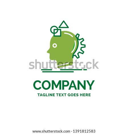 Imagination, imaginative, imagine, idea, process Flat Business Logo template. Creative Green Brand Name Design.