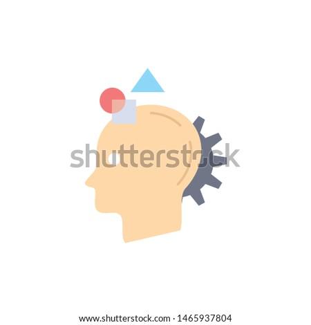 Imagination, imaginative, imagine, idea, process Flat Color Icon Vector. Vector Icon Template background
