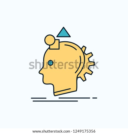 Imagination, imaginative, imagine, idea, process Flat Icon. green and Yellow sign and symbols for website and Mobile appliation. vector illustration