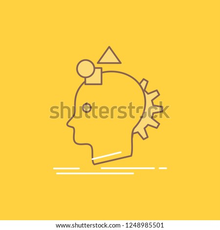 Imagination, imaginative, imagine, idea, process Flat Line Filled Icon. Beautiful Logo button over yellow background for UI and UX, website or mobile application