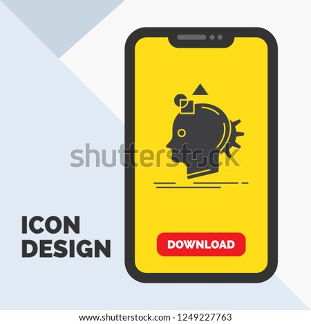 Imagination, imaginative, imagine, idea, process Glyph Icon in Mobile for Download Page. Yellow Background