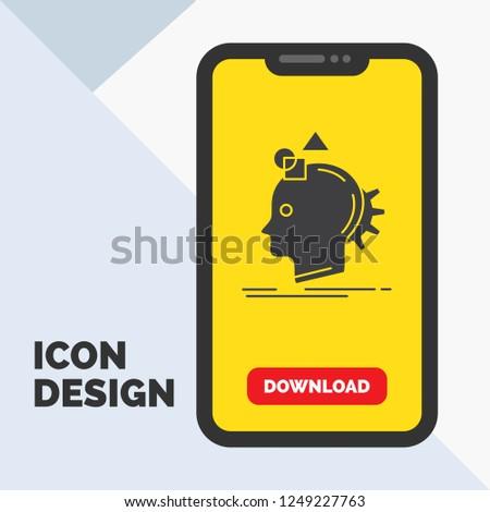 Imagination, imaginative, imagine, idea, process Glyph Icon in Mobile for Download Page. Yellow Background