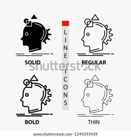 Imagination, imaginative, imagine, idea, process Icon in Thin, Regular, Bold Line and Glyph Style. Vector illustration