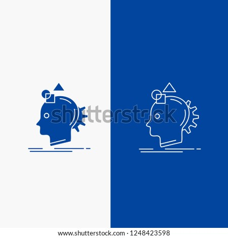 Imagination, imaginative, imagine, idea, process Line and Glyph web Button in Blue color Vertical Banner for UI and UX, website or mobile application