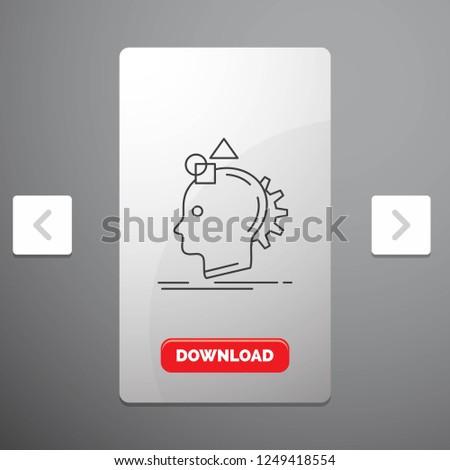 Imagination, imaginative, imagine, idea, process Line Icon in Carousal Pagination Slider Design & Red Download Button