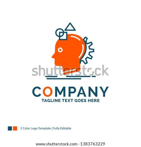 Imagination, imaginative, imagine, idea, process Logo Design. Blue and Orange Brand Name Design. Place for Tagline. Business Logo template.