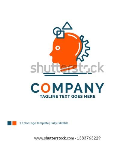 Imagination, imaginative, imagine, idea, process Logo Design. Blue and Orange Brand Name Design. Place for Tagline. Business Logo template.