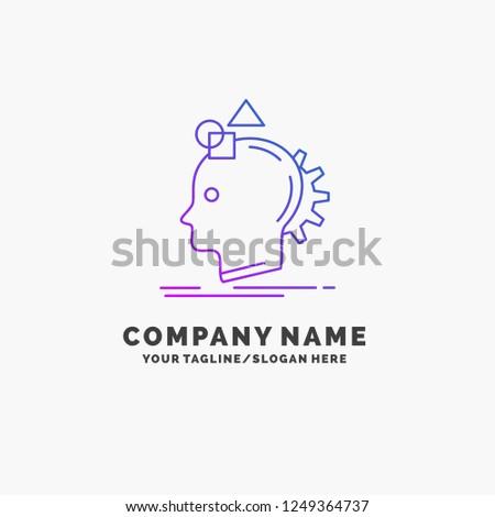 Imagination, imaginative, imagine, idea, process Purple Business Logo Template. Place for Tagline